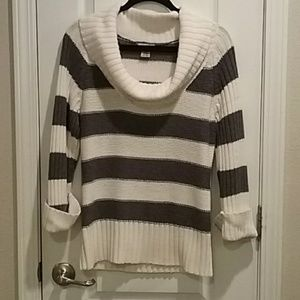 Grey and White Striped Cowl neck Sweater